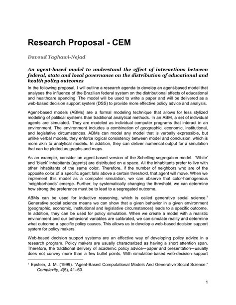 (PDF) Research Proposal: An agent-based model to