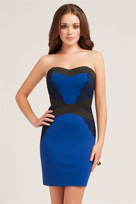 Bodycon Dress blue lace detail bodycon dress