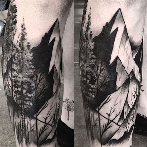 black and grey mountain tattoos 75 tree sleeve tattoo designs for men ink ideas with