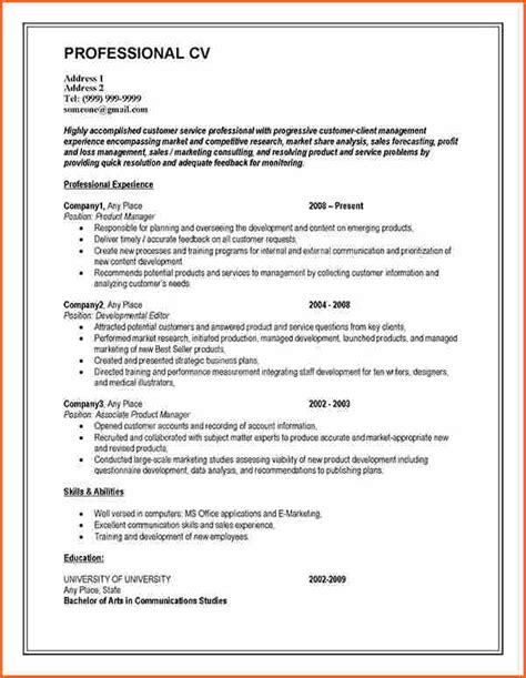 Professional Cv Writing by 10 Writing A Curriculum Vitae Budget Template Letter