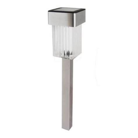 Solar Patio Lights Home Depot Malibu Led Solar Mini Square Outdoor Stainless Stake Light 8511 0106 01 The Home Depot