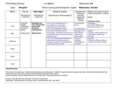 lesson plan template eyfs 13 best eyfs planning assessment images on pinterest