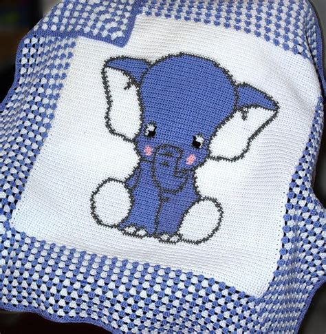 Crochet Pattern Elephant Baby Blanket | you have to see blue elephant crochet baby blanket by