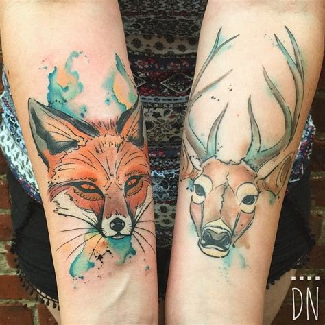 watercolor tattoos healed the deer is healed the fox is fresh thank you