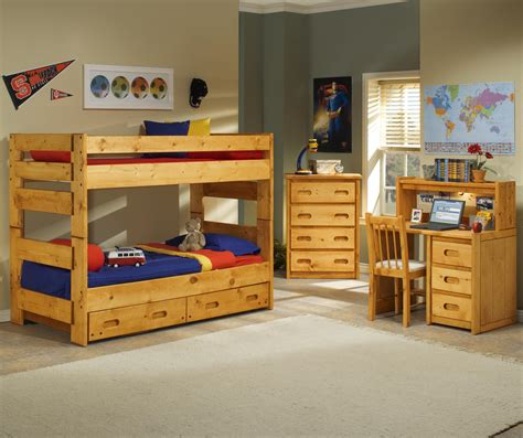 bunk bed trundle desk home trendwood bunkhouse 4 drawer chest with carved handles