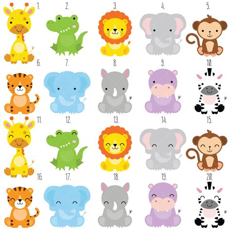 safari animals clip awesome baby animal clipart safari animals jungle zoo