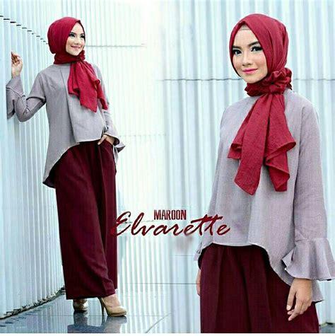 Baju Murah Pakaian Murah Batik 3in1 Agnes model baju muslim kekinian kulot elvarette maroon dan harganya baju gamis terbaru