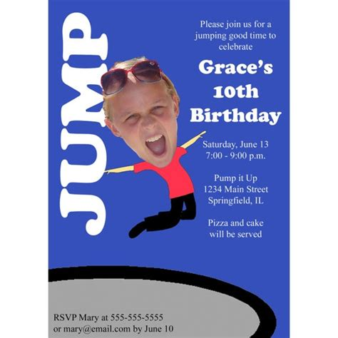 printable sky zone birthday invitations 8 best images about troline party on pinterest
