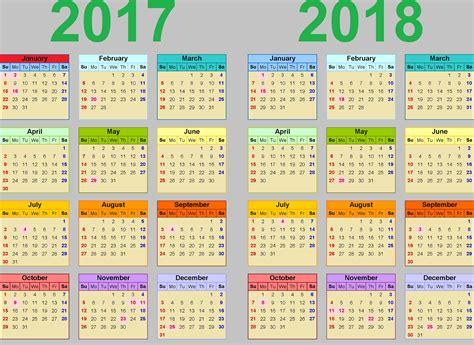 2017 And 2018 Calendar Printable