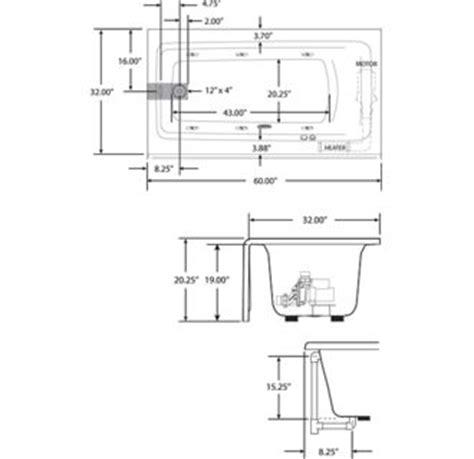 measurements of a bathtub installation jacuzzi j1s6032wlr1xxw white 60 quot acrylic whirlpool bathtub