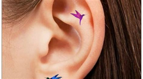 Temporary Tatto 16 temporary 16 hummingbird ear tattoos by unrealinkshop 4 85 flying hummmmm and