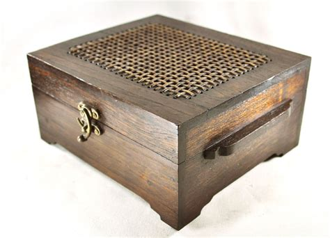 Handmade Wood Jewelry Box - large handmade rosewood carved wood chest jewelry box