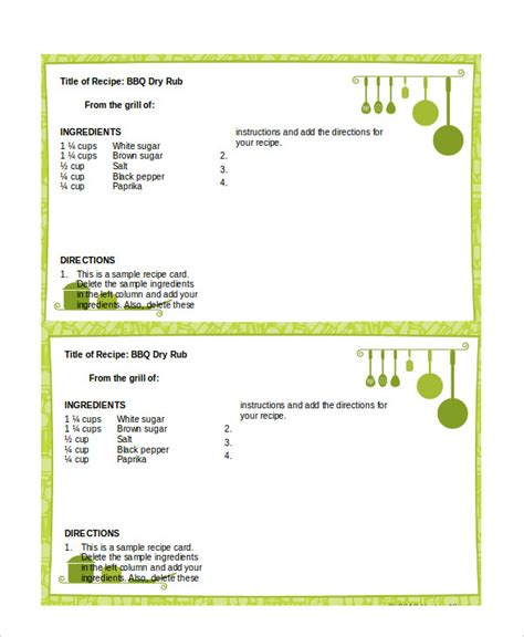 microsoft office recipe card template word recipe template 6 free word documents