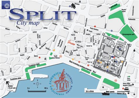 split plan split tourist map split croatia mappery