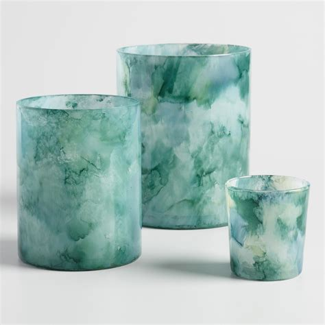 Blue and Green Watercolor Glass Hurricane Candleholder