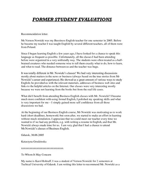 College Letter Of Recommendation Personal high school recommendation letter for college