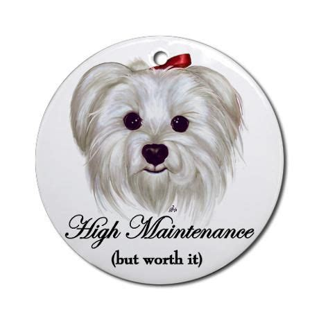 captioned maltese ornament round on