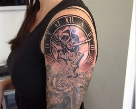 clock with roses tattoo 61 stunning clock shoulder tattoos