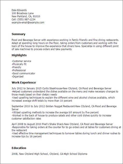 food and beverage resume template 1 food and beverage server resume templates try them now