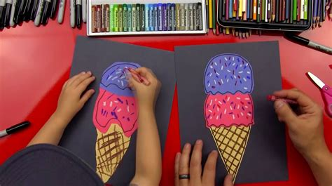 draw  ice cream cone art  kids hub