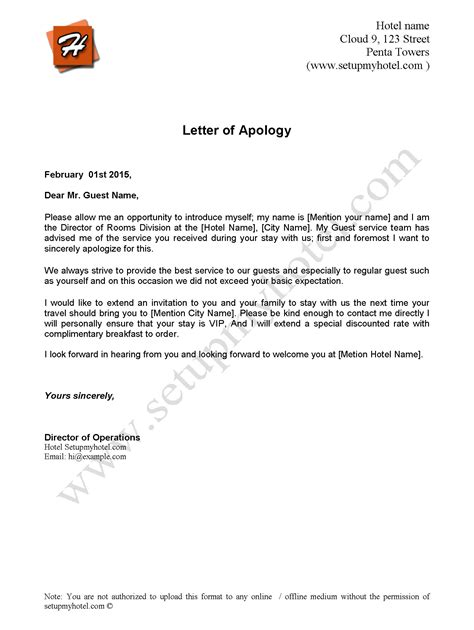 apology letter sample send hotel guests