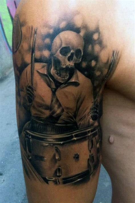 70 drum tattoos for musical instrument design ideas