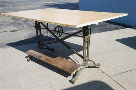 vintage cast iron keuffel esser drafting table   sewing