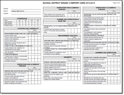 Grade Standards Based Report Card Template by Standards Based Report Card Preferences Infinite Cus