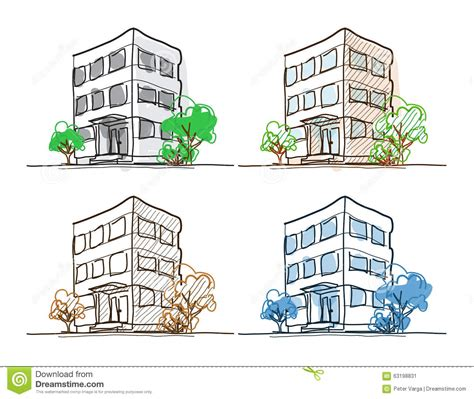 Barns Plans by Cartoon Drawing Outline Vector Buildings Doodle Stock