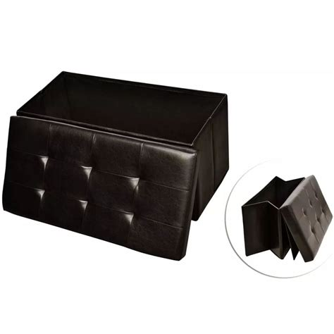 leather storage bench seat brown faux leather folding storage seat bench stool