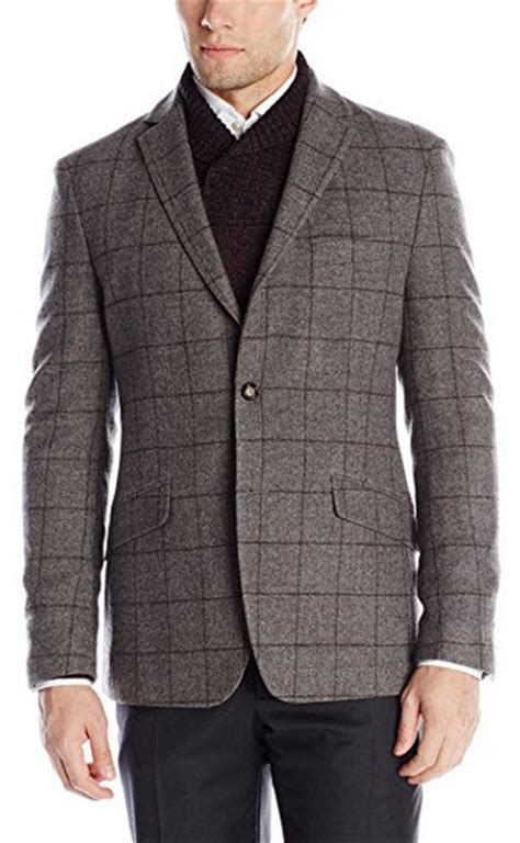 the light guys austin austin reed men s light grey wool plaid 2 button sport