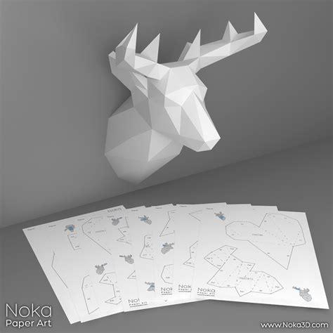 Deer Head Trophy 3d Papercraft Model Downloadable Diy Papercraft Deer Template