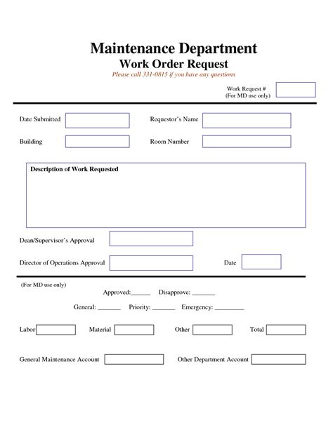 maintenance request card template word checklist free work request form maintenance work order request form