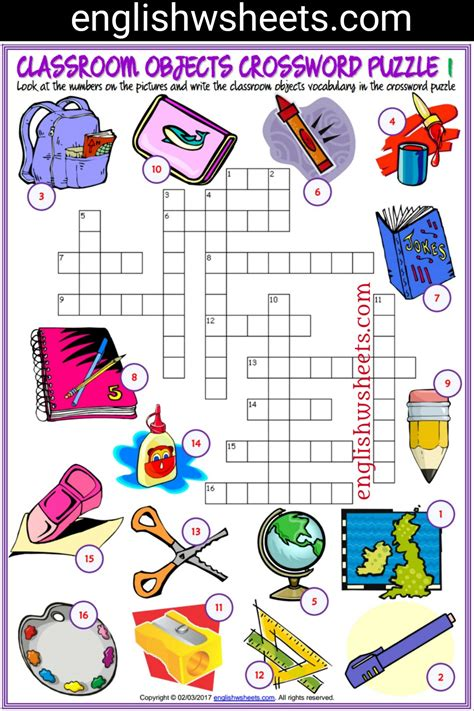 printable games classroom classroom objects esl printable crossword puzzle