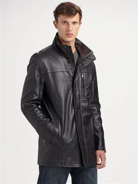 Marc Black andrew marc sunday driver leather car coat in black for lyst