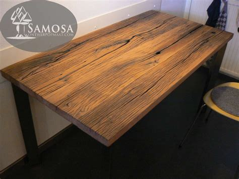 eiken tafel olie samosa ontwerp op maat oud eiken en rvs samosa
