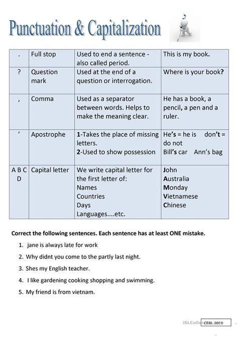 printable worksheets on capitalization and punctuation punctuation and capitalization worksheet free esl
