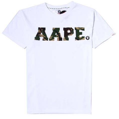 Kaos Bape A Bathing Ape Camo Aape Shirt Tshirt 4 a bathing ape aape text camo t shirt white