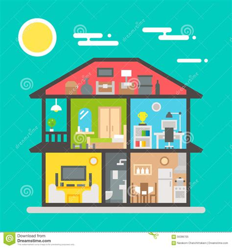 flat house interior design flat design of house interior stock vector image 56386705