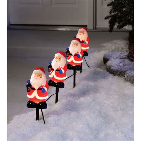 holiday time 4 piece santa claus pathway christmas lights