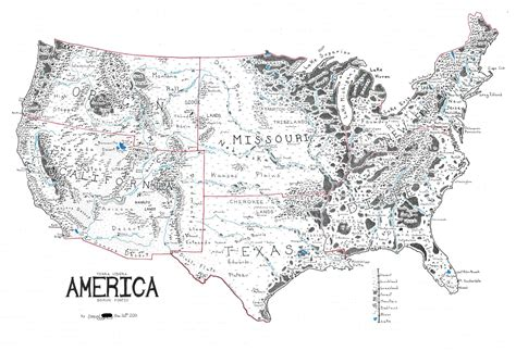 cool map of usa a map of the united states in the style of lord of