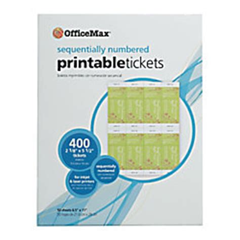 inkjet printable tickets officemax printable tickets by office depot officemax