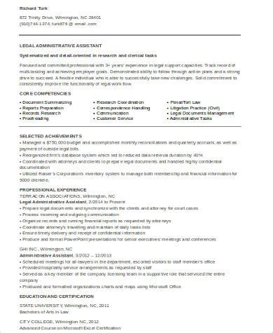 law firm administrative assistant resume sample legal assistant resume 8 examples in word pdf