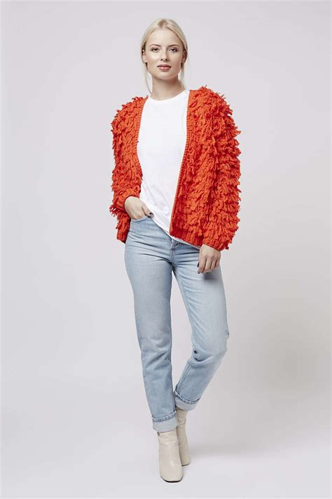 Premium Cross Cardigan Pink topshop premium bright shaggy cardigan in lyst