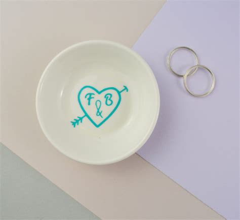 mini ring dishes carved heart initials not a jewellery box