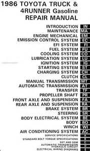 1986 toyota truck and 4runner repair shop manual original gasoline