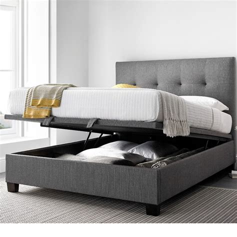 Grey Bed With Mattress Yorkie Grey Fabric Ottoman Bed