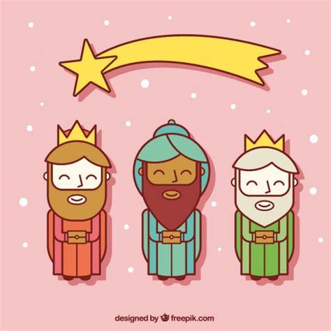 imagenes de los reyes magos en caricatura iconos planos de los tres reyes magos con estrella fugaz