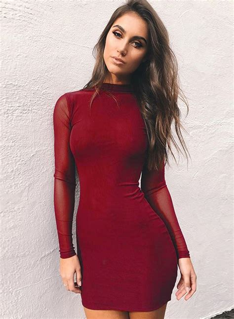 Mock Neck Sleeve Dress solid mock neck sleeve mesh bodycon dress oasap
