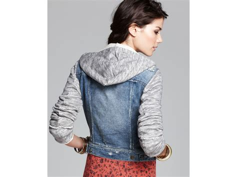 free denim and knit jacket free denim and knit hooded jacket in blue lyst